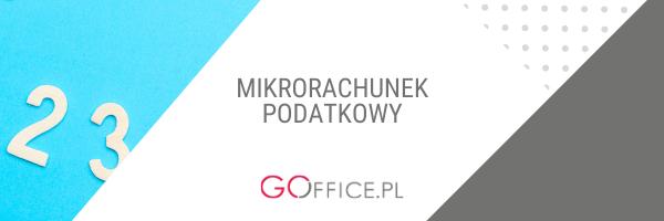 Banner z napisem: mikrorachunek podatkowy, zdjęcie cyfr na błękitnym tle