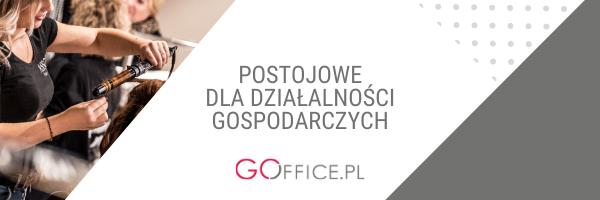 """banner z napisem """"postojowe dla działalności gospodarczych"""", zdjęcie fryzjerki w salonie"""