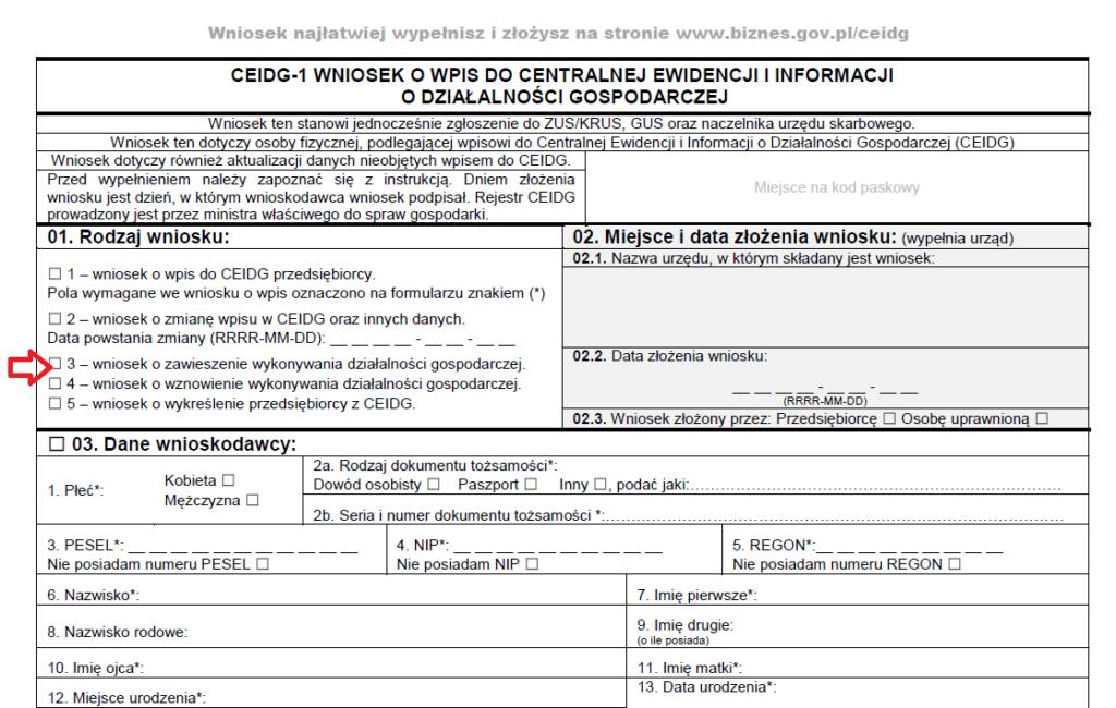 fragment wniosku CEIDG-1 z zaznaczonym czerwoną strzałką polem, które należy zaznaczyć, jeśli chcemy zawiesić działalność